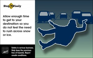 Image of woman slipping in a parking lot. Allow enough time to get to your destination.