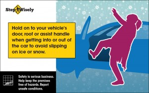 Image of woman slipping next to her open car door. Hold on to your vehicle's door, roof or assist handle.