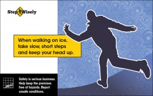 Man losing balance in winter scene. Walk slowly and take small steps when walking on snow or ice.