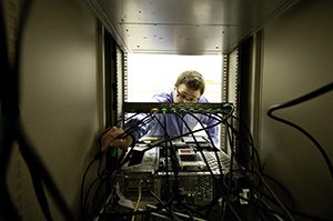 IT professional working on server