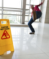 Step Wisely Image. Man slipping on wet floor.