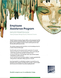 EAP Employer Promotion Guide cover: watercolor of face with eyes closed and text