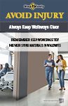 Thumbnail image of Avoid Injury Keep Walkways Clear poster shows man and women walking in office hallway that is clear of clutter