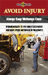 Thumbnail image of Keep Walkways Clear poster shows person working in highway shop with a floor clear of debris and equipment
