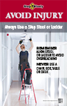 Thumbnail of Use Step Stool or Ladder poster showing a man on a ladder working on a light fixture overhead