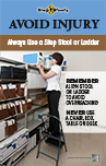 Thumbnail of Use Step Stool or Ladder poster showing a woman on a step stool reaching for a box on a high shelf