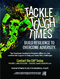 Thumnail of Tackle Tough Times poster; shows illustration of football player crashing into text