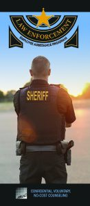 Law Enforcement Employee Assistance Program brochure cover shows sheriff looking down a road at sunset