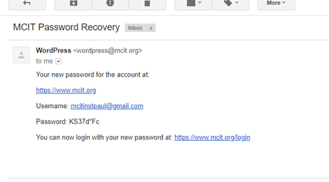 Final e-mail for account registration that provides username and password.