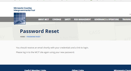 Password Reset page directing new account users to log in once they have received a new email with the password information.