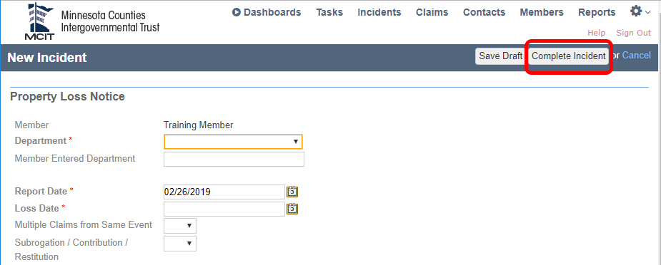 "claim form highlighting ""complete incident"" button in top right of the page."