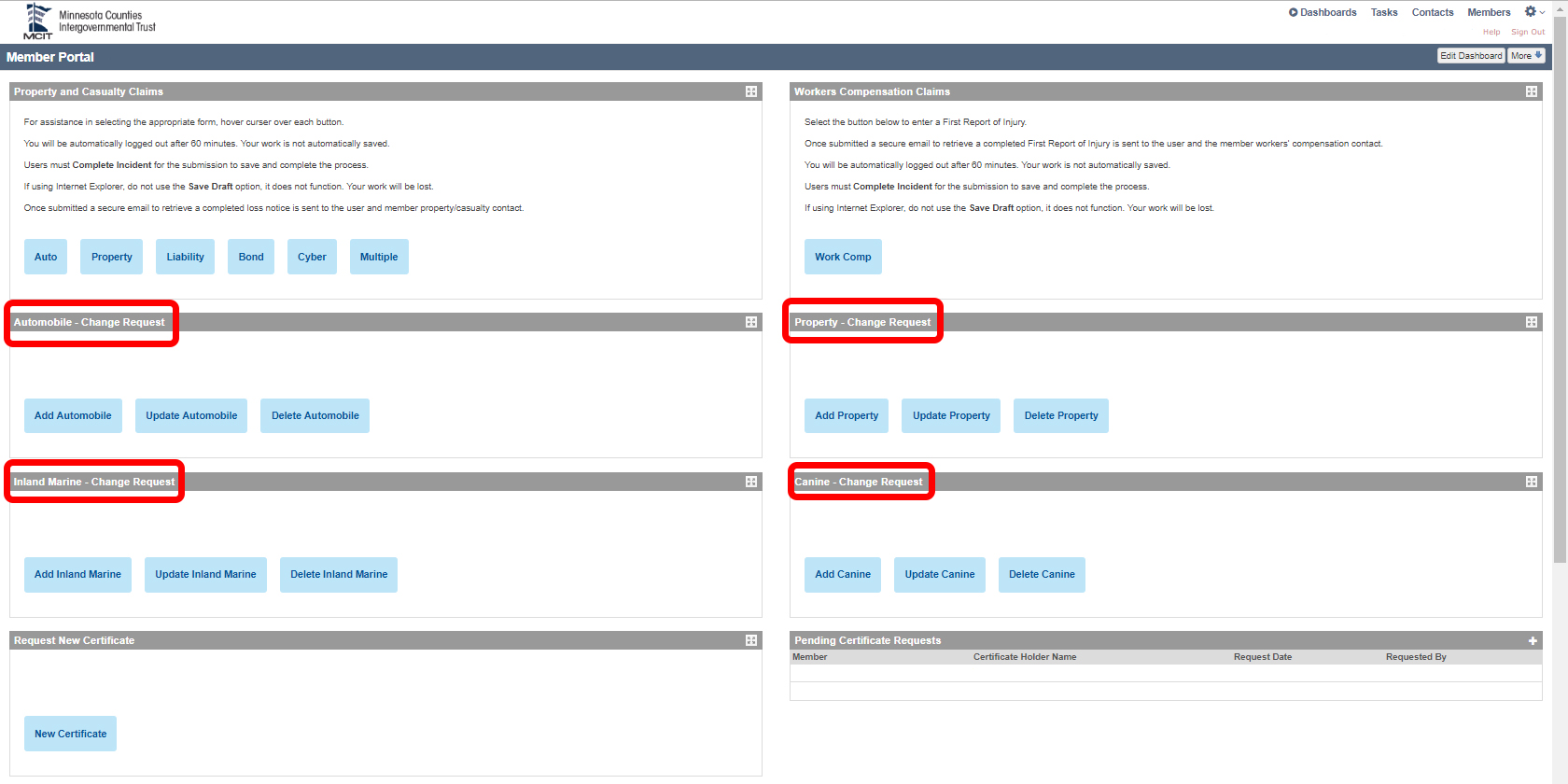 Screen shot of MCIT member portal with areas to access coverage change request forms highlighted with red boxes.
