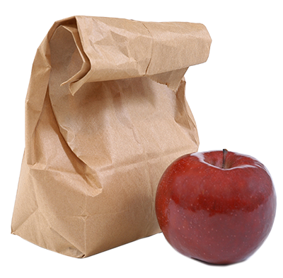 Brown paper lunch bag with apple next to it.