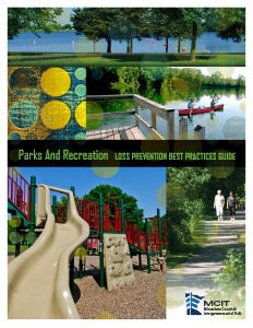 Cover of Parks and Recreation Loss Prevention Best Practices Guide showing a playground, fishing pier and trail