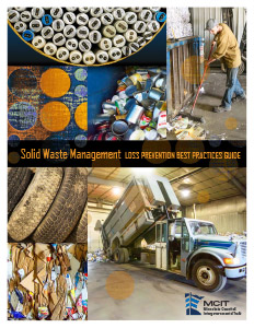 Cover of Solid Waste Management Loss Prevention Best Practices Guide showing piles of various recyclable and solid waste materials