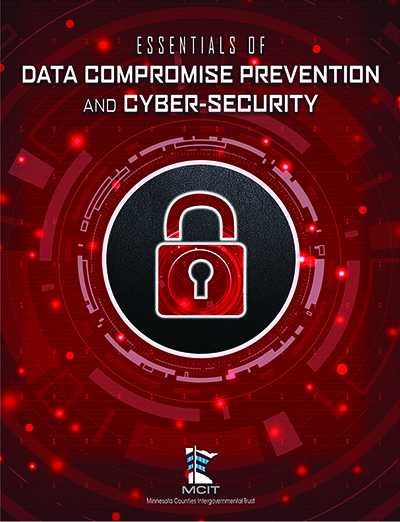 """Cover image of """"Essentials of Data Compromise Prevention and Cyber-security"""" guide, showing closed padlock on a background of binary code and circuitry"""