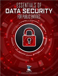 Essentials of Data Security for Public Entities book cover image showing closed padlock surrounded by binary code