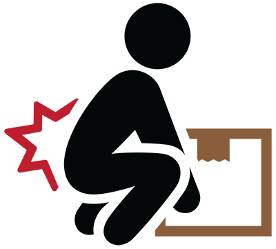 Illustration shows figure bent to lift a box with pain star near lower back