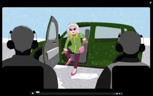 Scree shot of animated video 1: Winter Safety All Star Championship: Get Out of a Vehicle:. Shows a woman stepping out of a car while holding onto the vehicle with both hands and placing one foot on the ground before fully standing up.