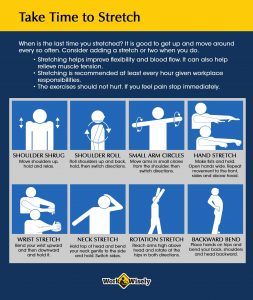 Take time to stretch during work with diagrams of stretches for arms, shoulders and back