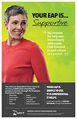 Smiling mature woman looks over her shoulder. Text: Your EAP Is ... Supportive""