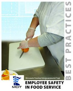 Cover image of Employee Safety in Food Service Best Practices book. Shows close up of person safely handling a sharp knife to cut an orange.