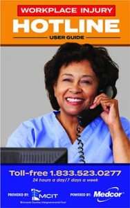 Workplace Injury Hotline user guide cover image: nurse on phone smiling at camera