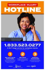 Workplace Injury Hotline poster image: Nurse on phone smiling at camera