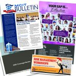 Collage of MCIT resources: Bulletin, EAP poster, training brochure, coverage review booklet