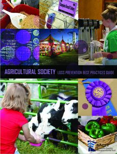 Cover image of Agricultural Society Loss Prevention Best Practices Guide shows various scenes from around a county fair