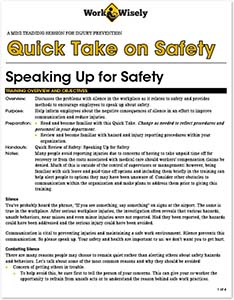 Quick Take on Safety: Speaking Up for Safety image of first page of training script