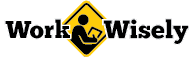 Work WIsely logo shows text interrupted by yellow icon of person working on tablet