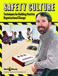 "Cover image for ""Safety Culture"" publication showing a safety committee meeting with middle-aged man in foreground and various safety publications at the table while others talk in the background"