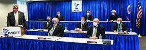 MCIT Board gathers socially distanced and wearing masks to conduct 2020 annual meeting virtually for members