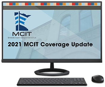 Computer monitor shows welcome slide for 2021 MCIT Coverage Update