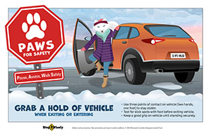 Illustration of arctic fox dressed in winter coat and boots getting out of parked car while holding onto the vehicle for safety. Text says: Grab a Hold of Vehicle When Entering or Exiting