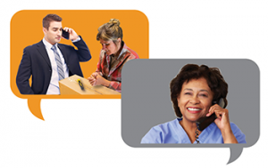 One thought bubble shows a businessman on the phone while a co-worker grasps an injured hand. Another thought bubble shows a nurse talking on the phone.