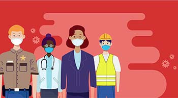 Illustration of various county workers wearing masks against a dark pink background with virus cells swirling around