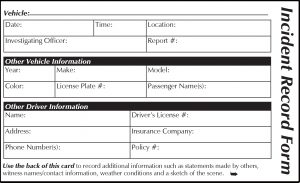Front page of incident record form to keep in vehicle