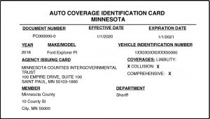 sample MCIT-issued vehicle identification card to keep in vehicle