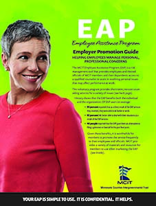 Cover image of Employee Assistance Program Employer Promotion Guide shows text and image of mature woman smiling over her shoulder against a bright green background